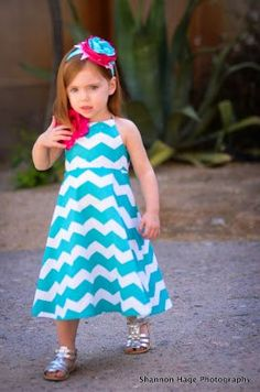 Ready to Ship Girls Chevron Halter Dress Size 4t by BBELLECOUTURE, $39.95