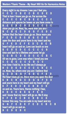 numbered titanic theme my heart will go on harmonica notations(notes,key,tabs) Piano Sheet Music Letters, Piano Music Easy, Piano Music Notes, The Piano, Keyboard Lessons, Keyboard Notes For Songs, Piano Notes For Beginners, Keyboard Noten, Kalimba