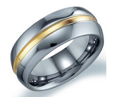 Mens Tungsten Wedding Ring Engagement Band Comfort Fit Yellow Stripe #Diamond #Ring #fashion #Jewelry  jeweltie.com