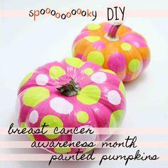 breast cancer awareness month DIY painted pumpkins
