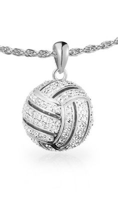 Bling Bling!  There are 196 diamonds in our Volleyball All-Star Ball Pendant #volleyball #jewelry $899