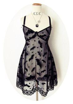 Sheer bat slip dress
