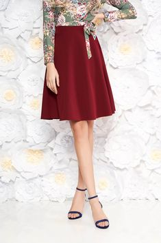 StarShinerS burgundy elegant cloche skirt high waisted slightly elastic fabric, with pockets, flaring cut, without clothing, back zipper fastening, high waisted