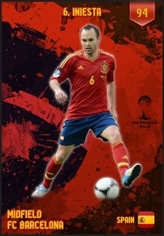 Andrea Iniesta of Spain. 2014 World Cup Finals card.