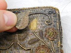Antique bible conserved at The Royal School of Needlework. Embroidery Books, Cross Stitch Embroidery, Hand Embroidery, The Royal School, Medieval Books, Textiles, Thread Painting, Painted Books, Casket