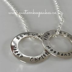 Beautiful way to wear your loved ones.  Sterling silver hand stamped 28mm circle of life loops on a sterling silver oval belcher chain Shop Via http://ift.tt/1Khhi4U or via the link in my bio  #customkeepsakesnz #circleoflife #unisex #nnzmo #networknz #love #kiwifamily #whanau #loveloops