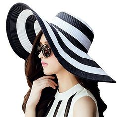 87c3627f Itopfox Women's Beachwear Sun Hat Striped Straw Hat Floppy Big Brim Hat  Black, One Size: Women's big brim beach hat sun protection hatbrNice wear  in the ...