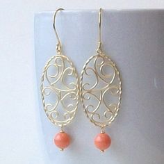Coral and Gold Pearl Dangle Earrings by PeriniDesigns on Etsy, $24.00