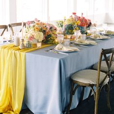Our Daffodil Graceful Table Runner brings a light yellow hue to this shoot. Planning + Styling: @nicolegeorgeevents Photography: Matthew Nigel