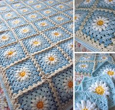 ** This is a RESERVED custom order for Liz. **    Specs:  -Daisy on blue granny square  -30 x 36    -------    Easy care: machine washable and