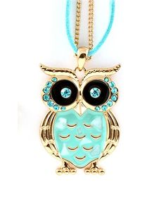 Mint & Turquoise Owl Necklace ♡ I love owls and the color Turquoise...oh my I want one of these..!!