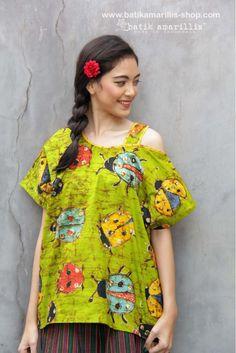 www.batikamarillis-shop.con  batik amarillis's breezy blouse 3 in classy & classic Ladybug pattern batik Wonogiren  This one shoulder cut out Top is super comfy with cut loose style
