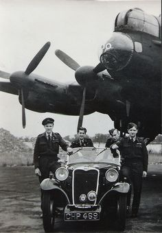A crew of RAF 514 Squadron in front of their Avro Lancaster bomber