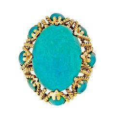 Large Bright Blue Turquoise Yellow Gold Dome Wire Ring | From a unique collection of vintage fashion rings at https://www.1stdibs.com/jewelry/rings/fashion-rings/