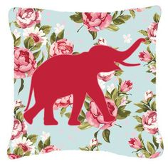 Elephant Shabby Elegance Blue Roses Indoor/Outdoor Throw Pillow