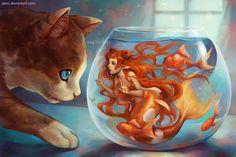 Hello there. by Qinni Goldfish Mermaid! Art And Illustration, Fantasy Hd, Fantasy Kunst, Yuumei Art, Qinni, Mermaid Cat, Mermaid Bowl, Art Postal, Mermaids And Mermen