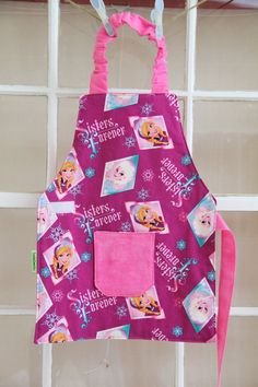 Frozen Smock, Child Apron, Frozen Apron, Elsa and Anna, Frozen Toddler Gift, Toddler Party Favor, Frozen Gift