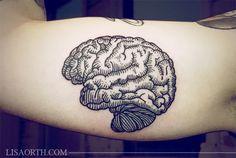 Stunning brain's tattoo by Lisa Orth - Tinte Time Tattoos, New Tattoos, Body Art Tattoos, Small Tattoos, Cool Tattoos, Tatoos, Woodcut Tattoo, Brain Tattoo, Etching Tattoo