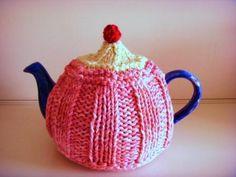 TEA COSY Hand Knitted Beaded Strawberry CUPCAKE Small Tea Cozy - Pink Tea Cosy…