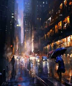 To me, this painting oddly resembles nostalgic, cozy memories of rainy city days. To me, this painting oddly resembles nostalgic, cozy memories of rainy city days. City Painting, Oil Painting Abstract, Rain Painting, School Painting, Painting Classes, Rainy City, Abstract City, Famous Art, City Art