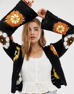 Buy ASOS DESIGN premium patchwork crochet cardigan at ASOS. Get the latest trends with ASOS now. Moda Crochet, Crochet Stitches, Knit Crochet, Crochet Jacket, Crochet Cardigan, Shrug Cardigan, Cardigan Pattern, Crochet Clothes, Diy Clothes