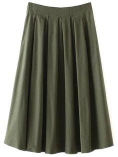 A Line Midi Skirt - ARMY GREEN S