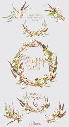 Aquarelle de couronne de coton et de Bouquets par ReachDreams