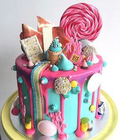 Candyland cake- Red Velvet cake with white chocolate buttercream! Every kids or big kids dream! Thanks Sandie Bolo Drip Cake, Bolo Cake, Drip Cakes, Pretty Cakes, Cute Cakes, Beautiful Cakes, Amazing Cakes, Crazy Cakes, Fancy Cakes
