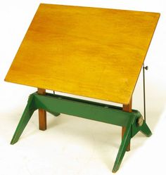 Early 1900s Green Lacquered Oak & Maple Drafting / Writing Table