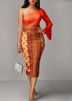 Long Sleeve Orange Top and Printed Sheath Skirt | Rosewe.com - USD $33.23