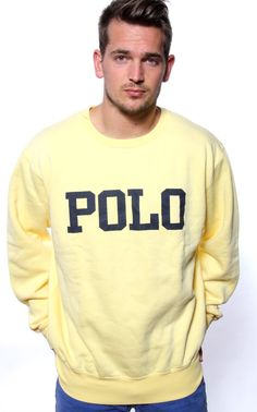 Vintage NWT Ralph Lauren POLO Spellout Canary Sweatshirt $69