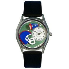 Whimsical Womens Football Black Leather Watch