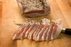 Guanciale (Salumi Artisan Cured Meats - Seattle, WA) - Made from the jowels of the pig, a delicious bacon-like product that enhances almost any dish. Charcuterie, Pork Recipes, Cooking Recipes, How To Cook Everything, Pork Bacon, Yummy Snacks, Fett, Italian Recipes, The Cure