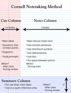 Cornell Notes Template Middle School  Google Search  Tutorial