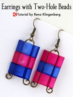 Earrings with Two-Hole Beads - Tutorial by Rena Klingenberg-These easy earrings are designed with a small stack of two-hole beads, held together by simple, curvy wirework. You can see the wire through the transparent beads.