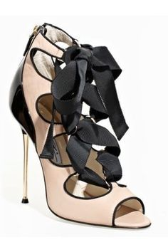 Chanel Nude/Black Ghillie Ribbon Lace Up Heels Women's Shoes, Zapatos Shoes, Me Too Shoes, Shoe Boots, Jimmy Choo, Shoes Valentino, Chanel Heels, Valentino Couture, Christian Louboutin
