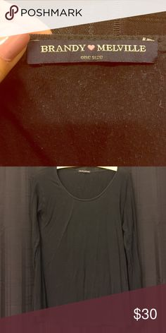 Brandy long sleeve top Brandy Melville black long sleeve top. Warn from the dryer. One size Brandy Melville Tops Tees - Long Sleeve