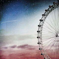Ferris wheel print dreamy aquamarine blue sky peach by Raceytay, $25.00