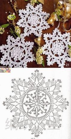 57 Ideas for knitting christmas decorations snowflake ornaments Crochet Snowflake Pattern, Crochet Stars, Christmas Crochet Patterns, Holiday Crochet, Crochet Snowflakes, Doily Patterns, Christmas Knitting, Thread Crochet, Crochet Crafts