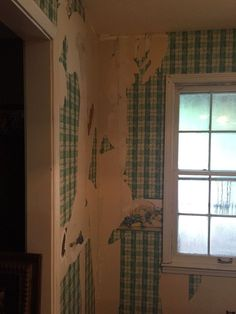 "We tried to remove wallpaper for years! We couldn't just paint over it and redoing the drywall was out of the question.  We used 8"" strips of wood cut from 1/4""…"