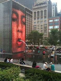 Crown Fountain in Millennium Park repinned from @Chicago Tribune