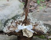 Flower Girl Basket Rustic Personalized Heart Lined In Baby's Breath, Christmas Basket, Custom Color  Ribbon For Cottage, Rustic Wedding. how cute!