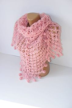 SALE hand crocheted shawlSoft Pink Shawlgiftpink by seno on Etsy, $60.00