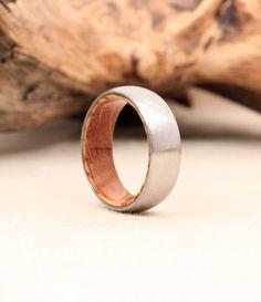 Titanium and Jack Daniels Whiskey Barrel White Oak Stave Wood Ring ($235)