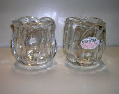 Tulip Shaped candle holders 24% Leaded Crystal Candle Holders votive and tealight $9.95  per set of 2