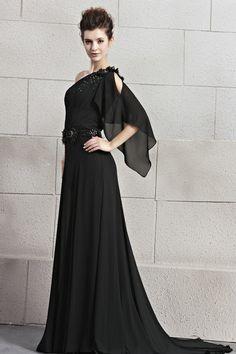 Royal Black Chiffon Sweep Train A-Line Dress DWD0395 -
