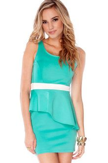 Space Age Peplum Dress in Turquoise and White