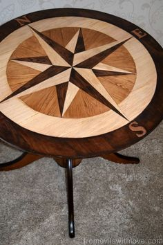 DIY compass table A to Z - table top made out of Floor boards #fabflippincontest #generalfinishes