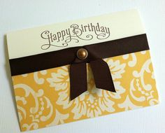 Birthday Card Stamped Birthday Card in Yellow and by TerrysCards, $3.00