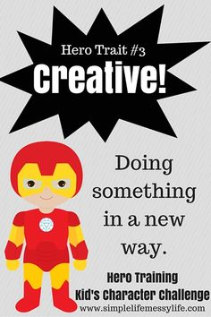 It's week three of Hero Training and we are having fun learning about how to be creative! If you haven't read the introduction to the series yet, check it outhere(it has all the instructions and info you'll need). Get past weeks here: week one (helpful), week two (self-controlled) I hope you have fun doing the …